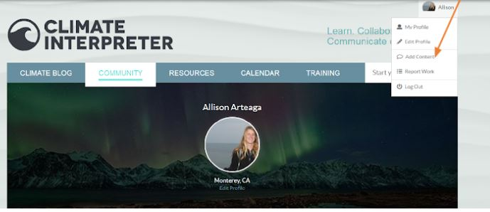 Screen shot of the climate interpreter site