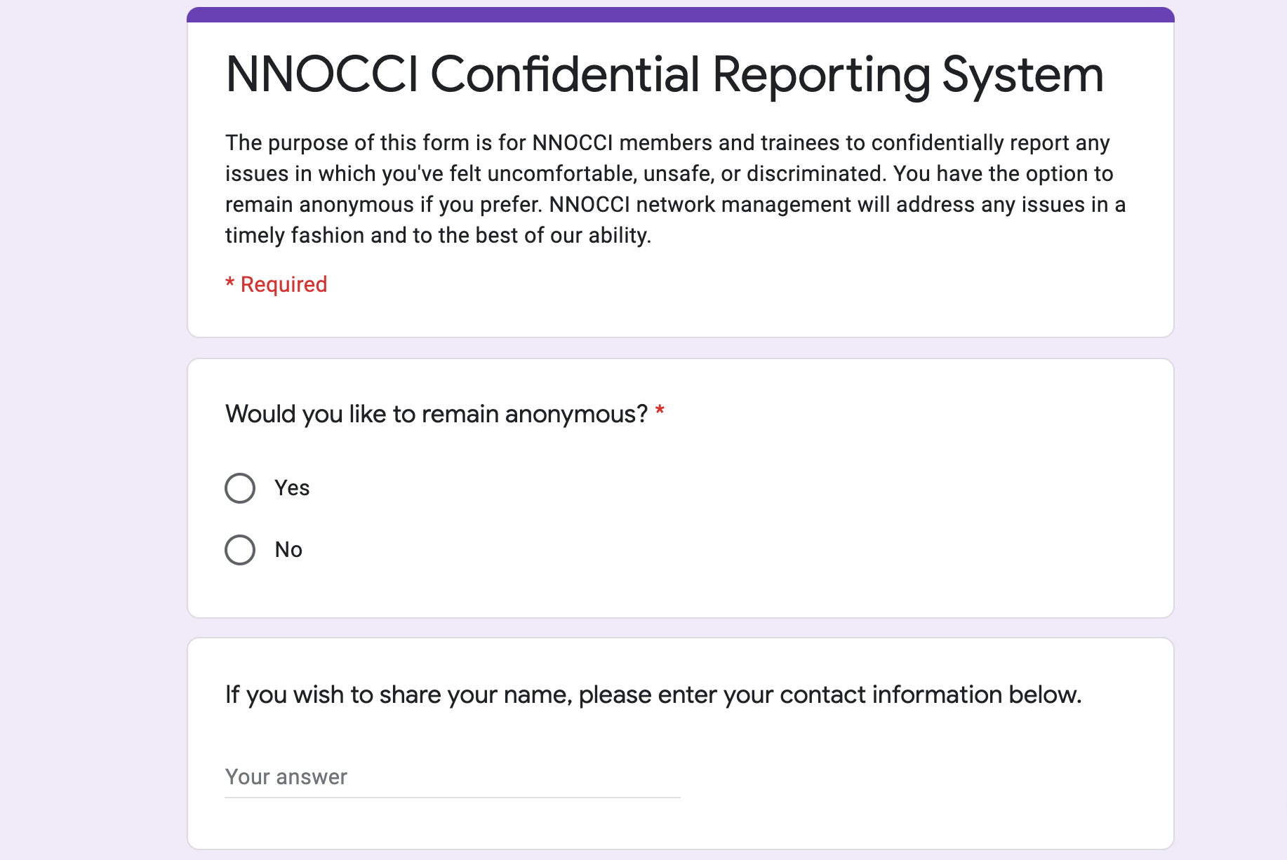 NNOCCI Launches a new web-based confidential reporting form