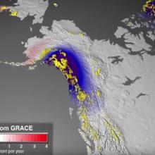 GRACE Mission Data: Ice Mass Trend Map: where ice mass is changing