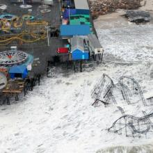 New Jersey Pier during Hurricane Sandy