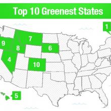 Top 10 Greenest States Map